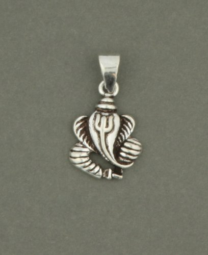 Sterling Silver Abstract Leaf Ganesh Pendant
