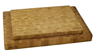 Verta Premium Bamboo End-Grain Chopping Block, Large, Buy One Get One Free
