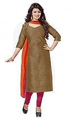 Khushali Presents Chanderi Dress Material (Brown,Rani)