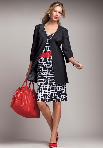 Roamans Plus Size Abstract Print Jacket with Sheath Dress