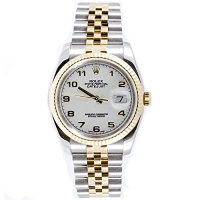 Rolex Mens Style Heavy Band Stainless Steel & 18K Gold Datejust Model 116233 Jubilee Band Fluted Bezel White Arabic Dial from watchmaker Rolex