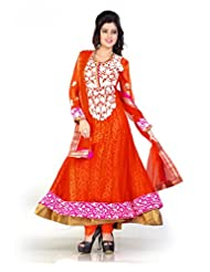 Dancing Girl Orange Net Embroidered Party Wear Semistitched Anarkali Suit