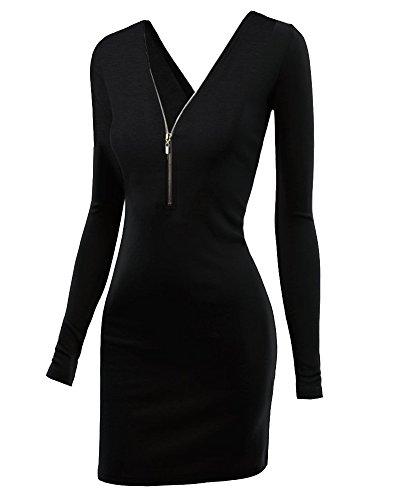 Zattcas Womens Long Sleeve Double V-neck Zip-up Cotton Knit Dress (Large, Black)