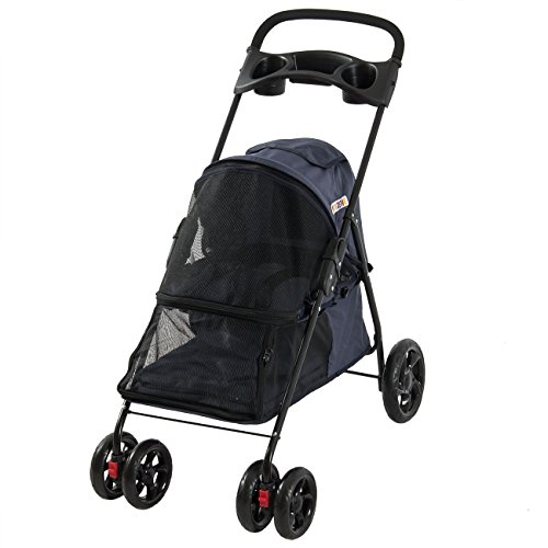 PETZONE© Four Wheel Pet Stroller, for Cat, Dog and More, Foldable Carrier Strolling Cart, Dark Blue