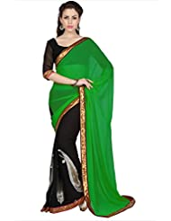 Designersareez Women Green & Black Faux Georgette Saree With Unstitched Blouse (1692)