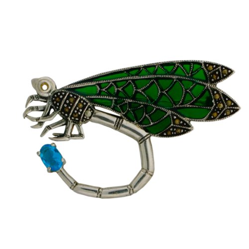 Sterling Silver, Marcasite, Blue Topaz and Enamel Dragonfly Pin.