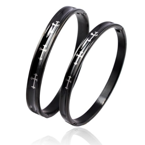 bigsoho Fashion Black Titanium Stainless Steel Cool Cross Men/Women Bangle Couple Bracelets