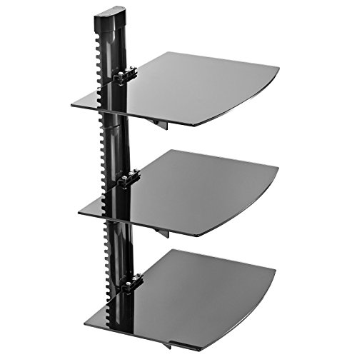 Mount Factory - Adjustable Wall Mount / Glass Floating DVD Component Shelf - 3 Tier - Black