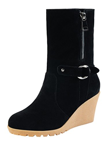 Guciheaven Women Fashiom Wedge Heel Boots(8.5 B(M)US, Black)