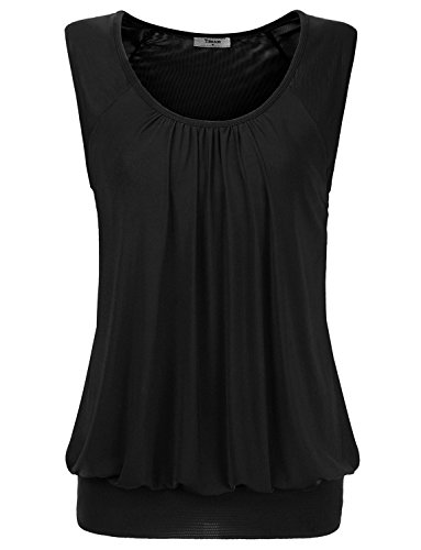 Tank Tops for Women, Timeson Sleeveless Scoop Neck Pleated Front Sleeveless Chiffon Tunic Top for Juniors Medium Black