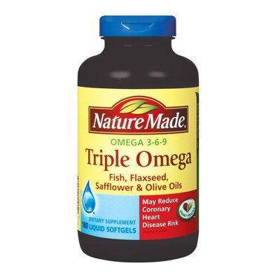 Nature Made Triple Omega 3 6 9 - Fish, Flaxseed, Safflower & Olive Oils - 180 Softgels (Pack of 3)