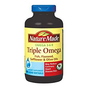 Amazon.com: Net quantity of 180 counts - Nature Made Triple Omega 3 6