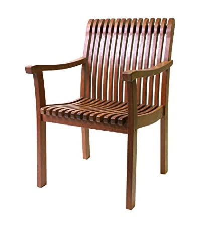Outdoor Interiors Eucalyptus Venetian Arm Chair, Brown