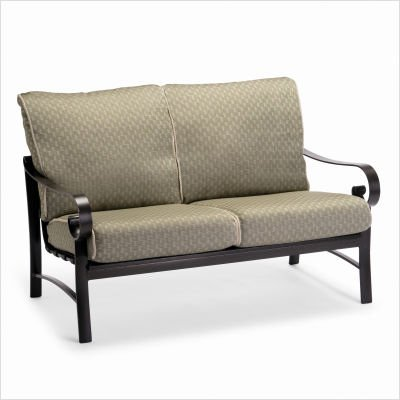 Buy Low Price Woodard Belden Loveseat with Cushions Finish: Hammered Pewter, Fabric: Castille – Tan (690419+-52-10M)