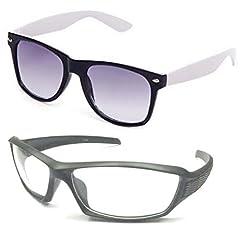 Mayatras Wayfarer Combo Sunglasses (White Black) (M57)