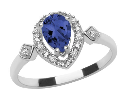 10k White Gold, September Birthstone, LabCreated Sapphire and Diamond Pear Shaped Ring, Size 5