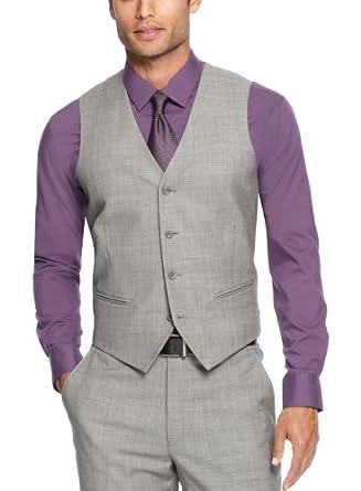 Alfani mens vest slim fit grey sharkskin 38r at amazon for Alfani mens shirt size chart