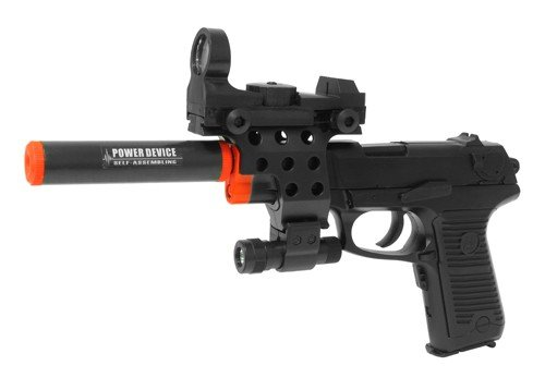 Electric Full Auto Tactical P85 Pistol FPS-150, Silencer, Red Dot Sight, Flashlight, Blowback Airsoft Gun