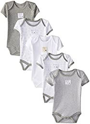 Burt\'s Bees Baby Boys\' Organic 5 Pack Short Sleeve Bodysuits, Heather Grey, 3-6 Months