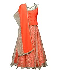 Peaches Girls' Lehenga Choli (L-FOW_Orange_3-4 Years)