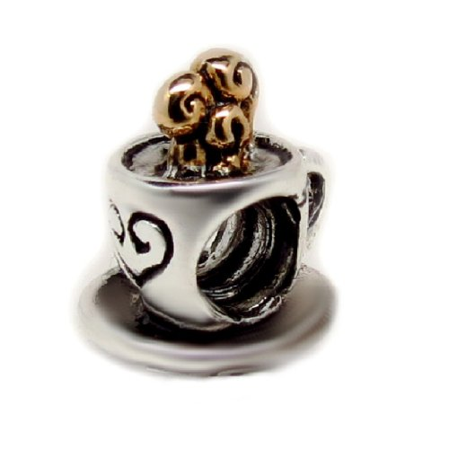 EvesErose Cup of Tea Coffee Cappuccino Bead Sterling Charm Fits Pandora & Similar Bracelets