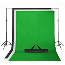 Square Perfect Background Support System with Green Black and White 6X9 Muslin Backdrops For Chroma Key Includes Stand