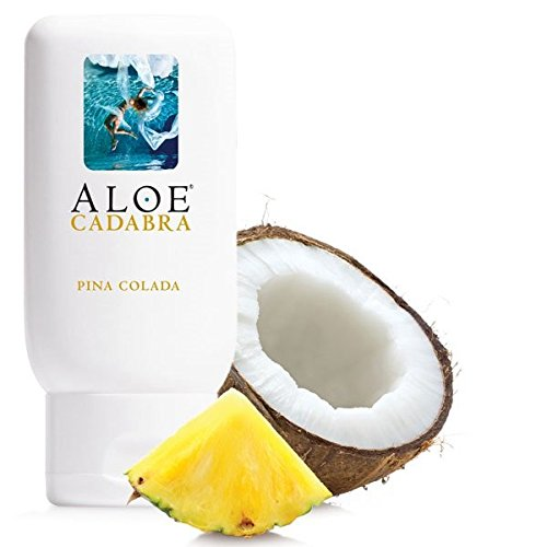 Aloe Cadabra Flavored Lube, Pina Colada, Best Organic Edible Natural Personal Lubricant Oral Sex Gel, 2.5 Ounce