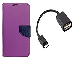 Novo Style Book Style Folio Wallet Case SonyXperiaC Purple + Micro USB OTG Cable Attach Pendrive Card Reader Mouse Keyboard to Tablets Mobile