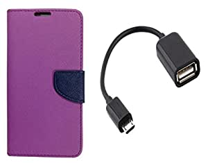 Novo Style Book Style Folio Wallet Case Micromax Juice 2 AQ5001 Purple + Micro USB OTG Cable Attach Pendrive Card Reader Mouse Keyboard to Tablets Mobile