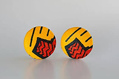"Fabric button earrings (1 1/2""), African fabric button earrings, Ankara fabric button earrings, Fabric Earrings, Button earrings (Ama)"
