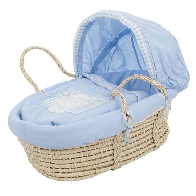 blue baby moses basket by Obaby
