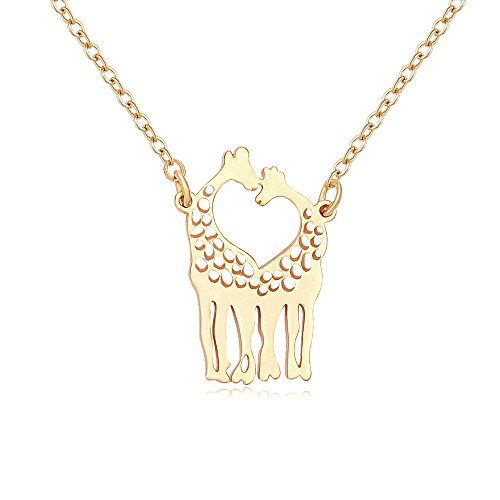 Manzhen heart shaped two giraffe animal pendant necklace gold aloadofball
