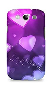 AMEZ designer printed 3d premium high quality back case cover for Samsung Galaxy S3 i9300 (romantic hearts purple shine)