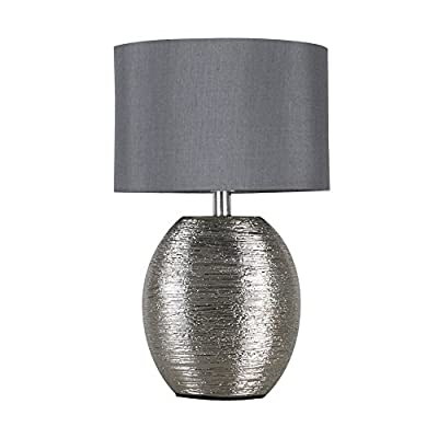 Modern Textured Chrome Effect Ceramic Table Lamp with a Grey Fabric Light Shade