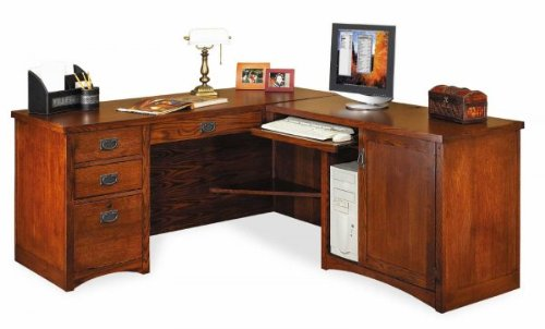 Buy Low Price Comfortable Mission Pasadena Desk with Right Computer Return (Oak) (64″W X 29″H X 25″D) (B003K42NI0)