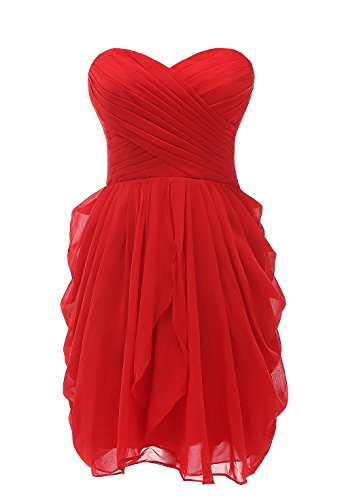 Kiss Dress Short Strapless Prom Dress Soft Chiffon Evening Dress L Red