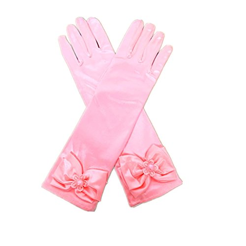 DreamHigh Kids Stretch Satin Long Finger Gloves for Flower Girl Children Party Pink