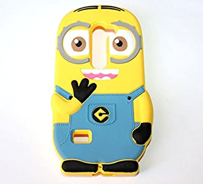 For LG Tribute 2 LS665 Phone Case - Cute Despicable Me Minions Yellow/Blue Soft Rubber Silicone Protection Skin Cover [MobileCentral] by DM