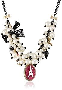 "Betsey Johnson ""Paris is Always a Good Idea"" Paris and Pearl Necklace, 19"""