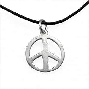 Small Peace Symbol Silver-dipped Pendant Necklace on Adjustable Natural Fiber Cord