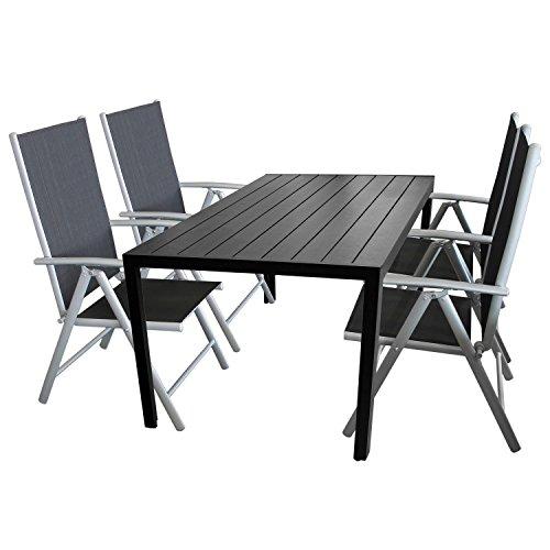 5tlg-Terrassenmbel-Set-Sitzgruppe-4x-Hochlehner-Klappstuhl-pulverbeschichtet-Textilenbespannung-Gartentisch-Aluminium-Polywood-Non-Wood-Schwarz-150x90cm-Gartenmbel-Terrassengarnitur-Gartengarnitur-Bal