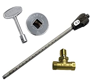 Dante Products NG.BVS.CR Universal Log Lighter Combo Kit with Natural Gas Log Lighter, Straight 1/2-Inch, Quarter-Turn Ball Valve, Chrome Floor Plate and 3-Inch Key
