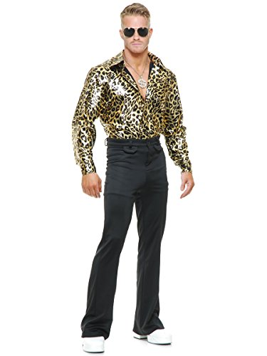 Charades Gold Leopard Disco Shirt Adult Costume