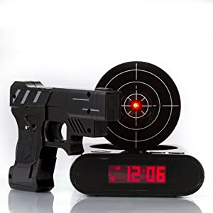 Newest Lock N' load Gun alarm colck/target alarm clock/creative clock - Black