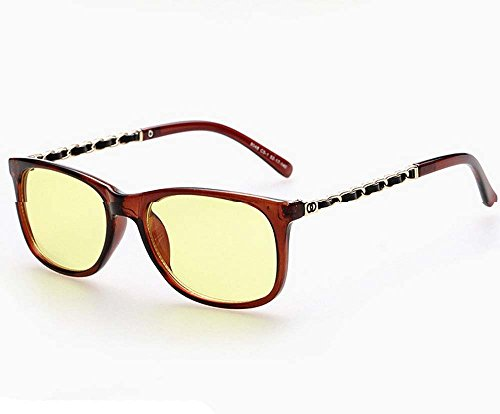 Anti-blue glasses anti-fatigue computer goggles plain glass spectacles (Dark brown)