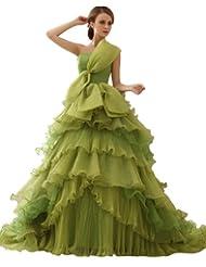 DAPENE Women's Elegant Ruffle Bow Court Train Organza Wedding Dress promo code 2015