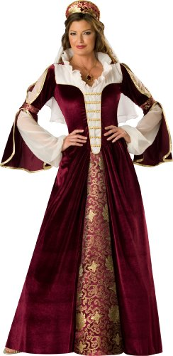 InCharacter Costumes, LLC Elegant Empress Full Length Gown, Burgundy/Gold/White, Small