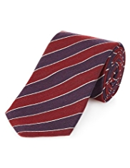 Collezione Made in Italy Silk Blend Block Striped Tie with Wool