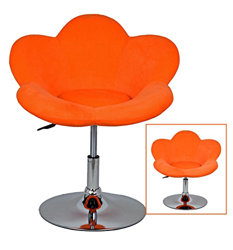 1x-Barhocker-orange-Blume-in-Blumenform-Lounge-Sessel-Barsessel-Clubsessel-Cocktailsessel-Drehsessel