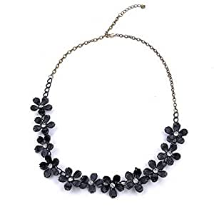 Vintage Rhinestone Necklace Camellia Flower Bohemian Bib Choker Statement Necklaces Pendants Women Jewelry